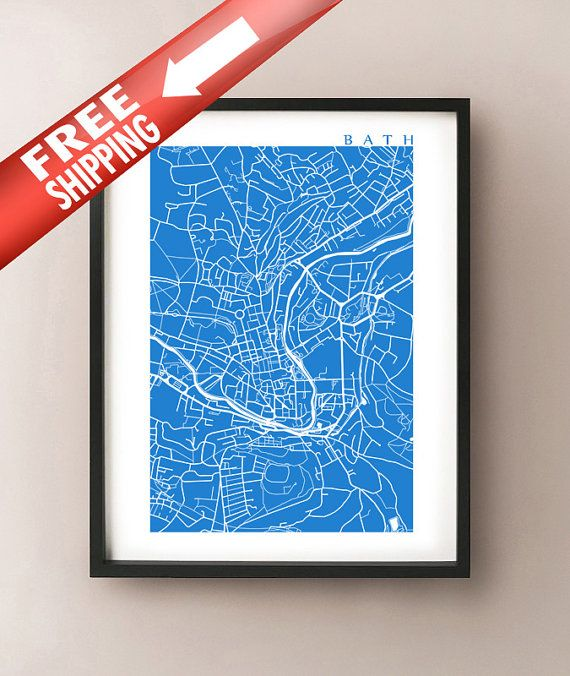 Bath Map Print UK Wall Art England Poster by CartoCreative & Bath Map Print - UK Wall Art - England Poster | Bath map Printing ...