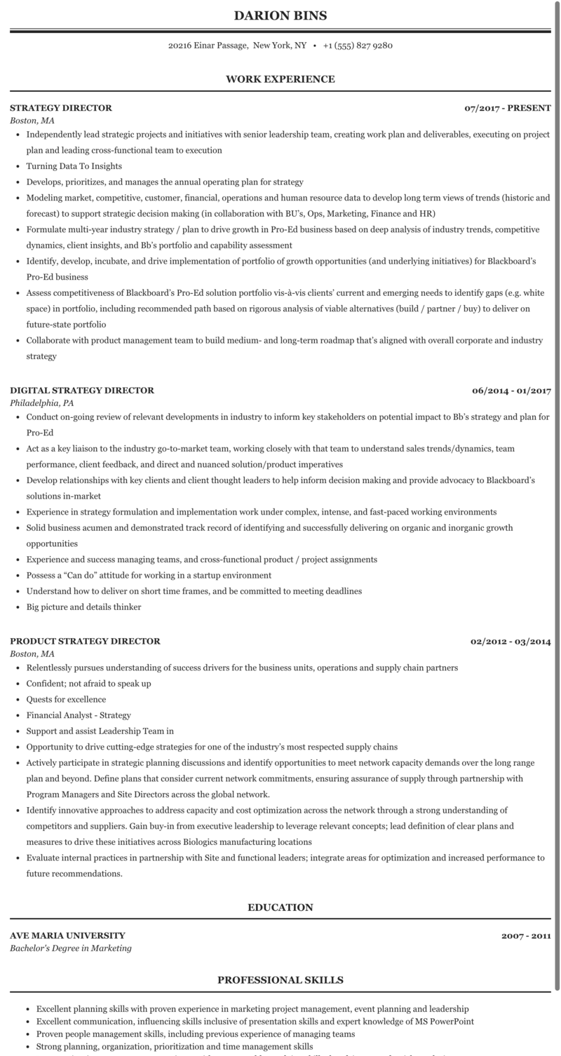 Strategy Director Resume Sample in 2020 Oral