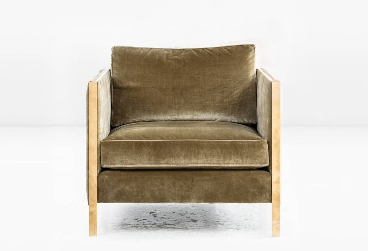 Delightful Armstrong Armchair Or Club Chair With Down Filled Silk Velvet, Solid Brass  Frame