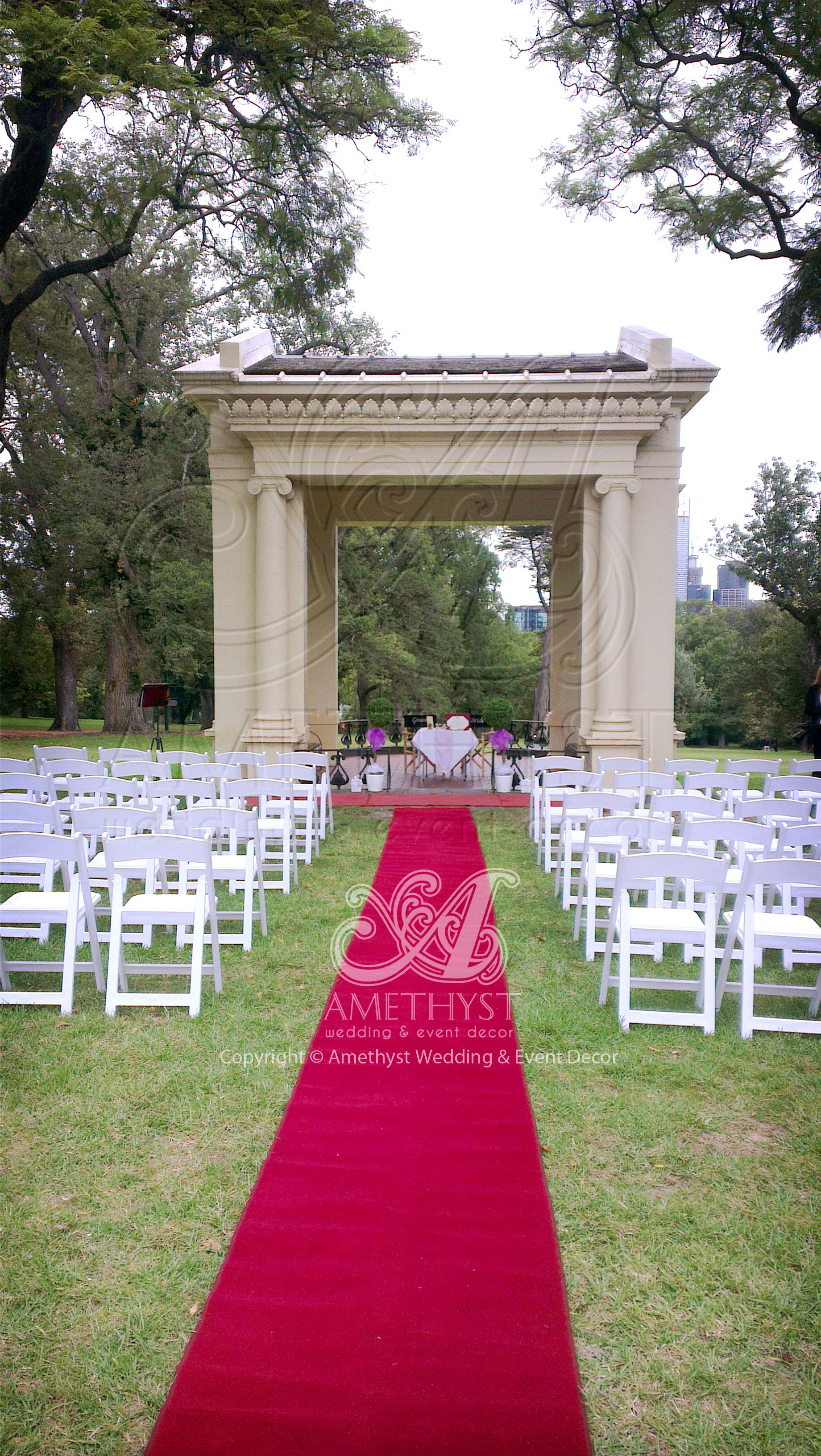 "wedding ceremony setup at the ""old band stand"", fitzroy garden"