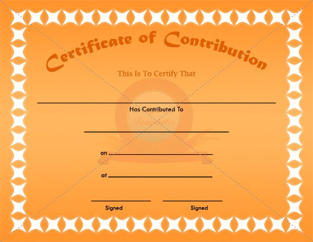 Contribution Certificate Template CONTRIBUTION CERTIFICATE - downloadable certificate template