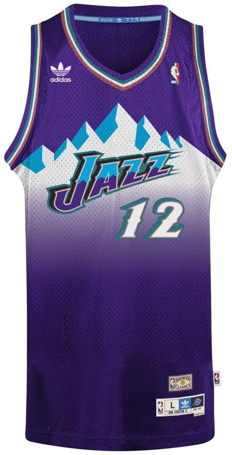 John Stockton Utah Jazz Adidas NBA Throwback Swingman Mountains Jersey -  Purple 28c3c1b6a