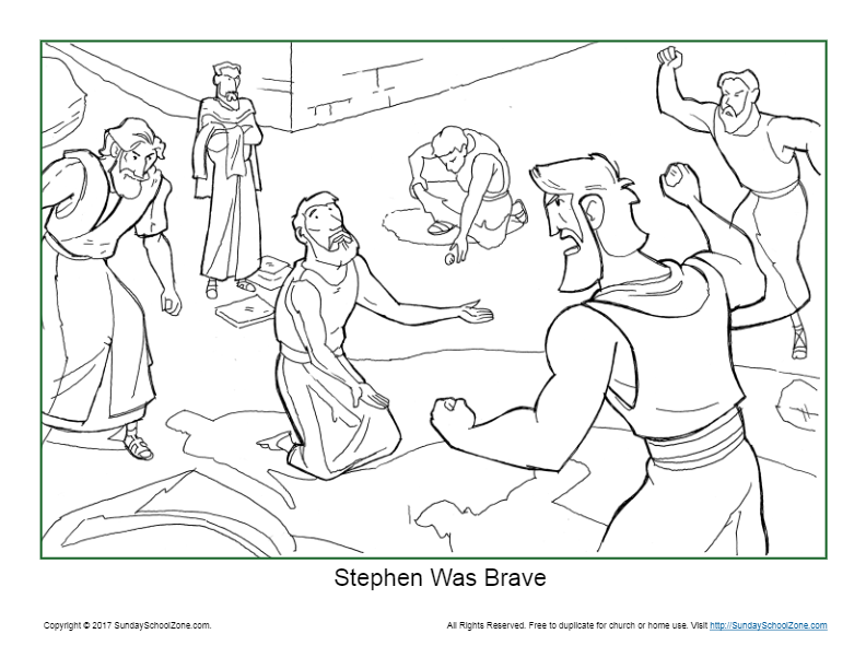 Stephen Was Brave Coloring Page On Sunday School Zone Bible Crafts Sunday School Sunday School Activities Bible Activities