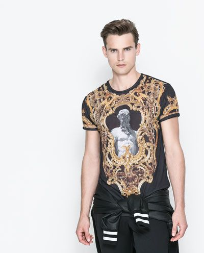 ba674f6e BAROQUE PRINTED T-SHIRT from Zara | Gifts Under $50 | Mens fashion ...