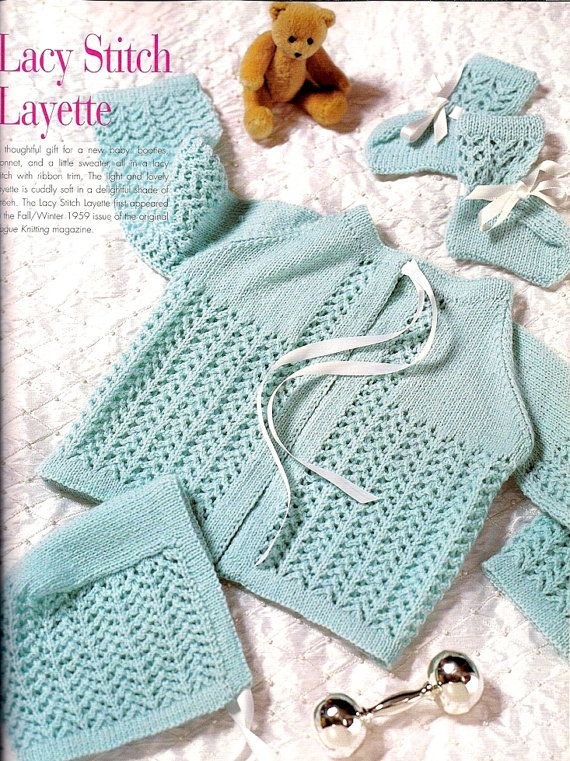 82ad61fe1 INSTANT DOWNLOAD PDF Vintage Knitting Pattern Lace Layette Matinee ...