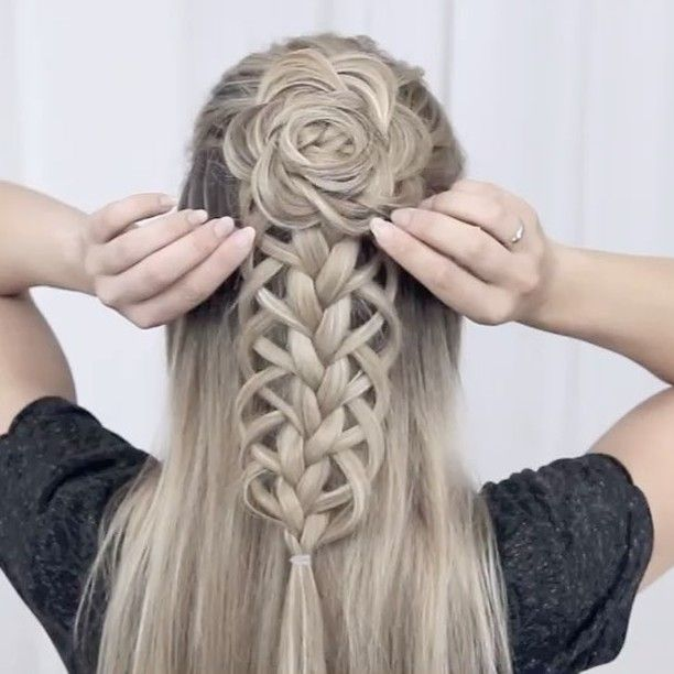 8 495 Likes 140 Comments Nina Starck Hairstyles N Starck On Instagram Loop Braid Flower Combo You Hair Styles Braids For Long Hair Hair Lengths