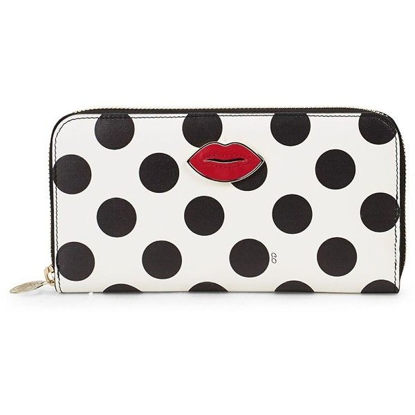 Charlotte Olympia Women's Polka-Dot Leather Wallet (€225) ❤ liked on Polyvore featuring bags, wallets, multi, leather zipper wallet, real leather wallets, leather wallets, genuine leather bag and charlotte olympia