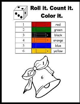 Roll and Color Christmas pages | Christmas colors, Color ...