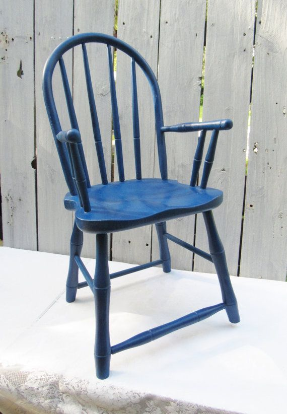 Nautical Blue Childrenu0027s Chair, Navy Blue Windsor Back Small Chair, Hand  Painted Shabby Chic