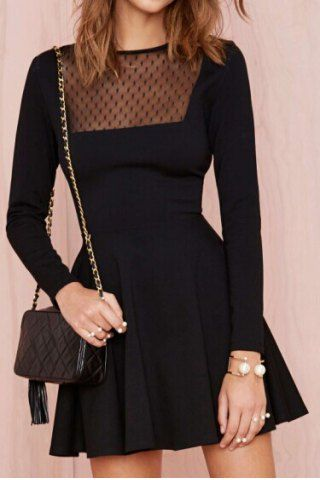 Fashionable Round Neck Mesh Splicing Long Sleeve Dress For Women