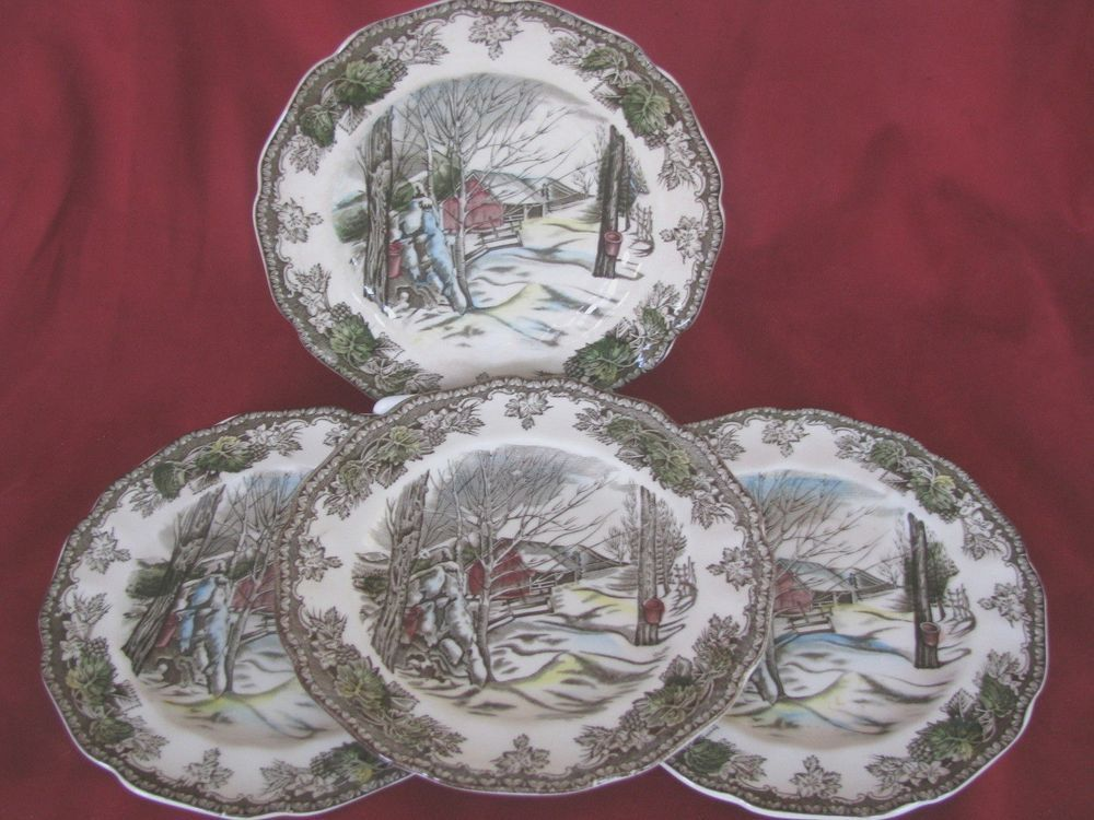 Friendly Village Johnson Brothers bread u0026 butter plates. Made in England. A classic snowy & Friendly Village Johnson Brothers bread u0026 butter plates. Made in ...