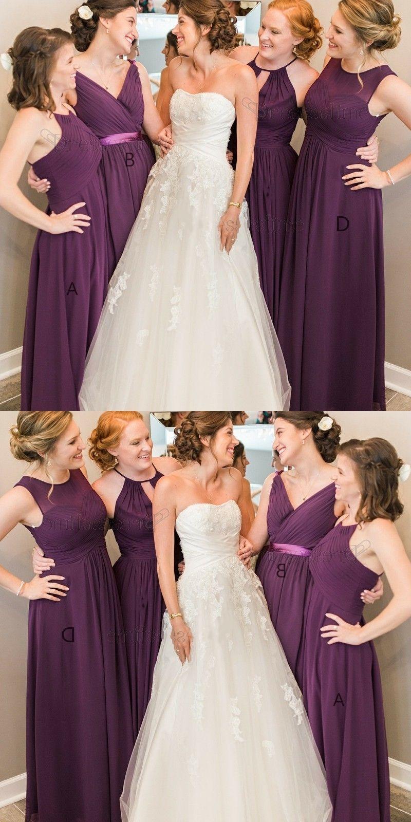 Long wedding dress  ALine Round Neck FloorLength Grape Chiffon Bridesmaid Dress with