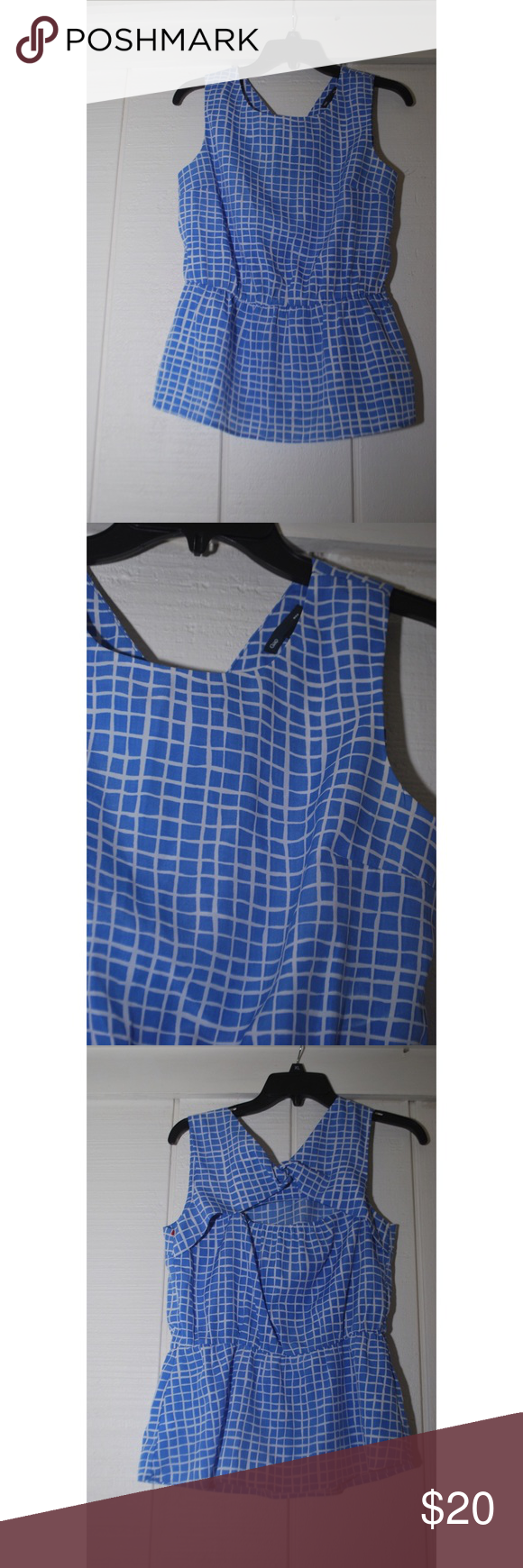 GAP Keyhole Cutout Silk-like Top Love the pattern of this blue and white gap top. It has never been worn, and has a cute key hole cut out detailing in the back. GAP Tops Tank Tops