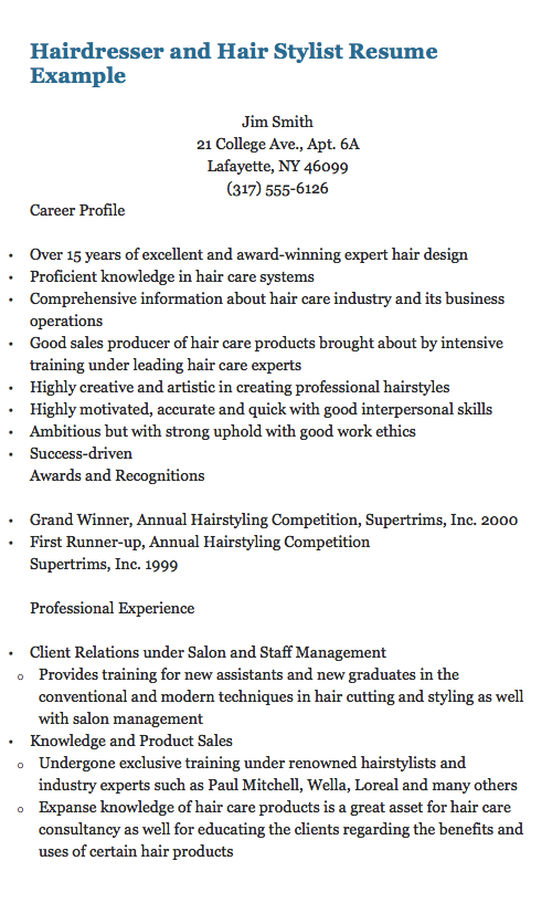 Hairdresser And Hair Stylist Resume Example Jim Smith  College