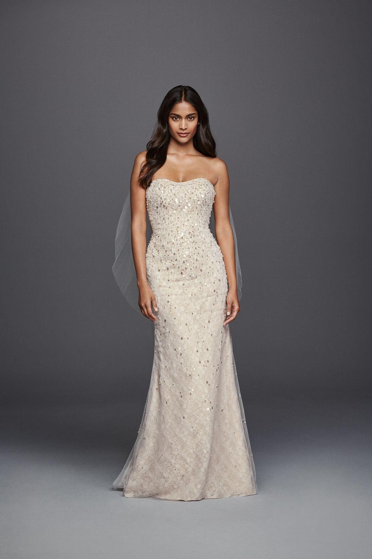 b4330bac61 Long Strapless Beaded Fringe Bodice Lace Sheath Galina Signature Wedding  Dress at David s Bridal