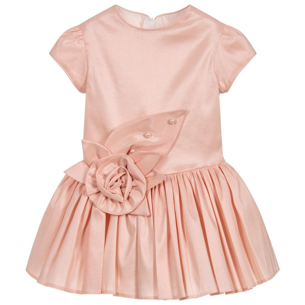 68e47da34 Girls Pink Satin Rose Dress