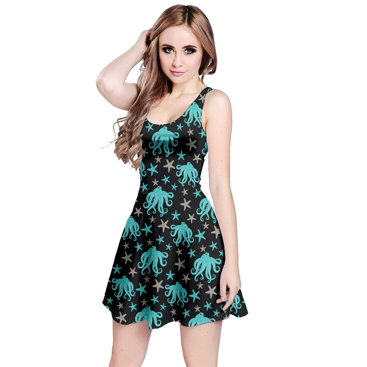 54ab68fc497e27 Women s Octopus Starfish Printed Elastic Swing Sleeveless Dress (XS ...