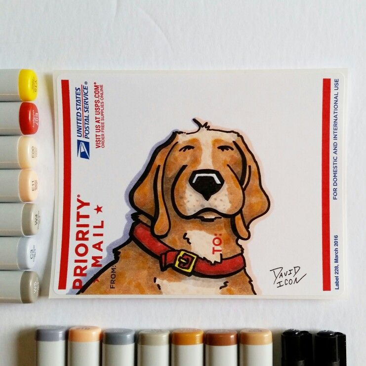 Cartoon dog sticker drawn with copic markers