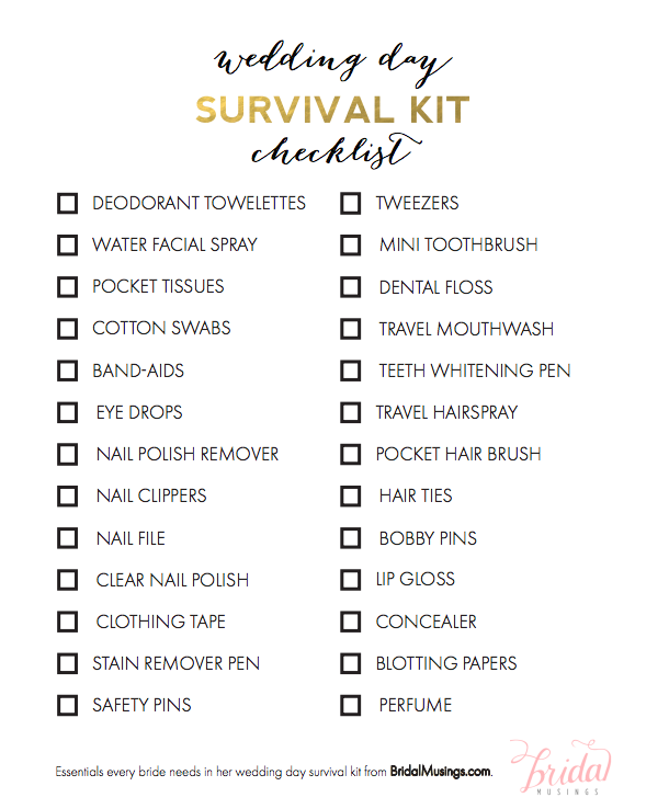 Items Every Bride Needs in Her Wedding Day Survival Kit | Survival ...