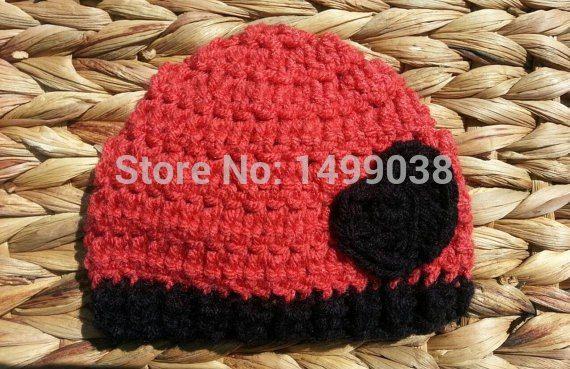 4c8ffdf01c METHODEN ZUR MODE EINER HÄKELHÜTZE Häkeln Herz Baby Beanie Hut in Schwarz  und Erdbeere Rot,