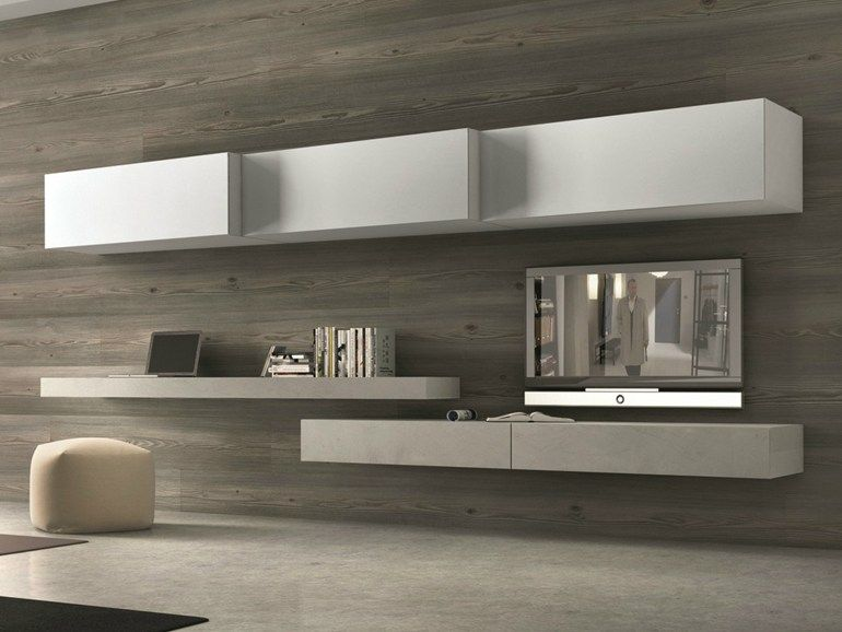 Sectional wall mounted tv wall system tv unit for Presotto industrie mobili spa