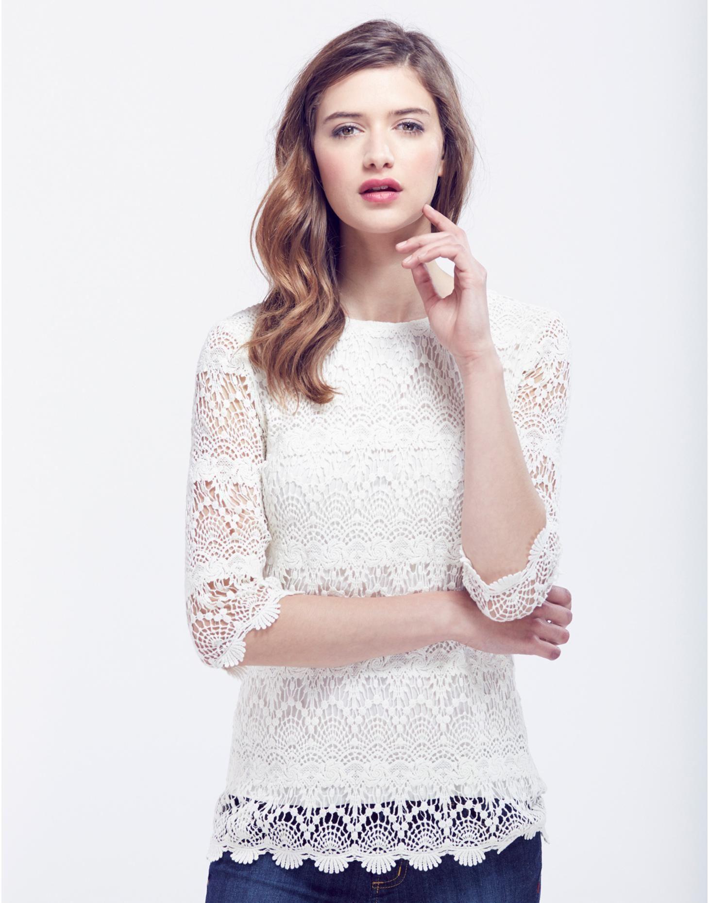 964f1e8c36e0b0 Creme Lisbeth Womens Lace Top | Joules UK | Lust List | Lace tops ...