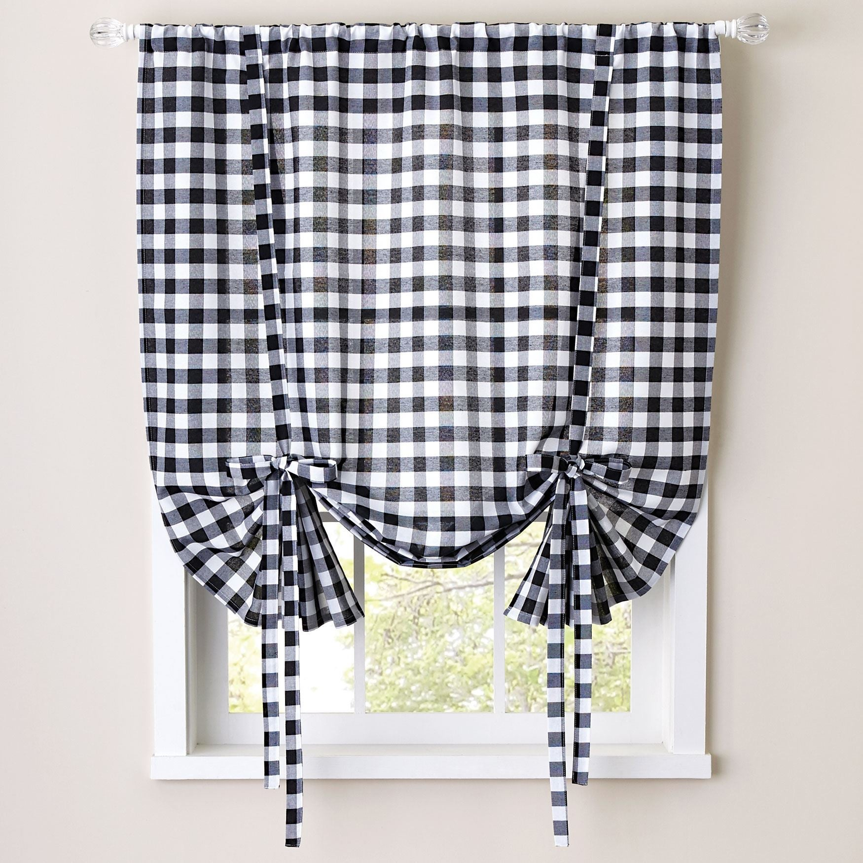 Buffalo Check Decorative Tie Up Shade In Burgundy As Is Item Burgundy Red Tie Up Shades Sweet Home Collection Decor