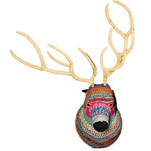 Reindeer Wall Decoration L Made from papier-mâché and cloth taken from used saris