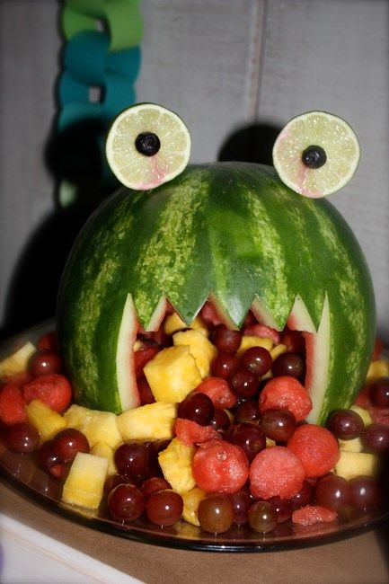 Monster Fruit Platter Tutorial - great for Halloween or a Monsters Inc. party