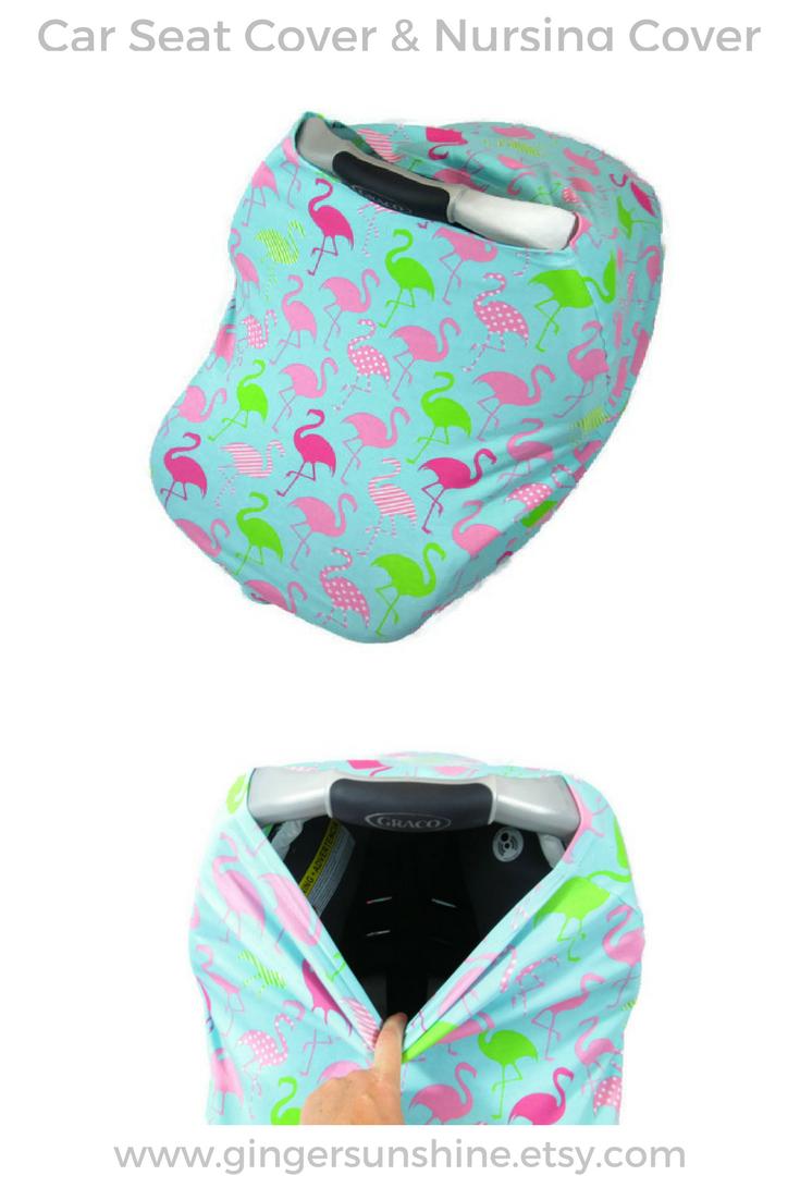 Flamingo Carseat Cover, Car Seat Cover, Nursing Cover Flamingo, Car ...