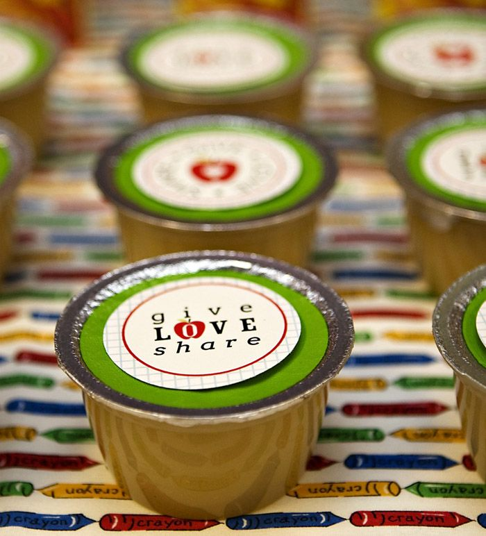 Not back to school food- labels on applesauce- CUTE!!!