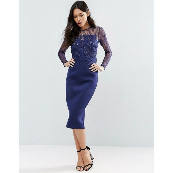 Asos Premium Scuba Long Sleeve Lace Pencil Dress 103 Liked On Polyvore Featuring Dresses Blue Long Sleeve Dress Long Sleeve Pencil Dress Women Dress Sale