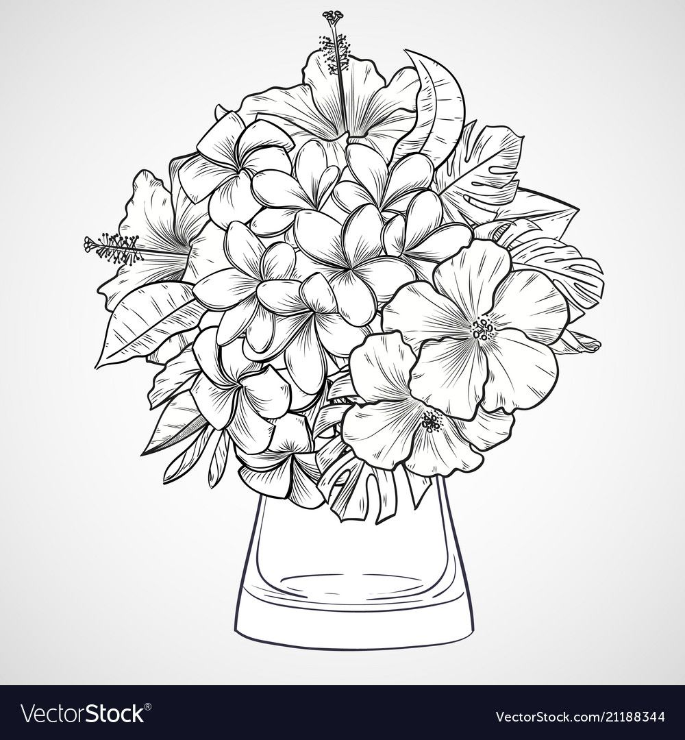 Bouquet Of Flowers Vector Image On Vectorstock Flower Coloring Pages Flower Drawing Cartoon Coloring Pages