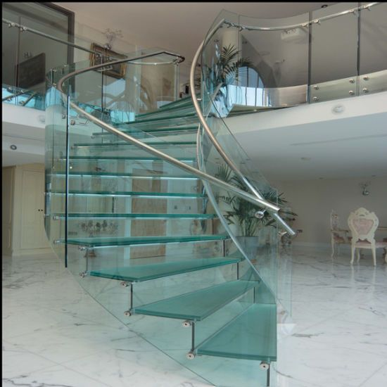 Best Luxury Glass Staircase For That Clean Curved Stairway Look 400 x 300