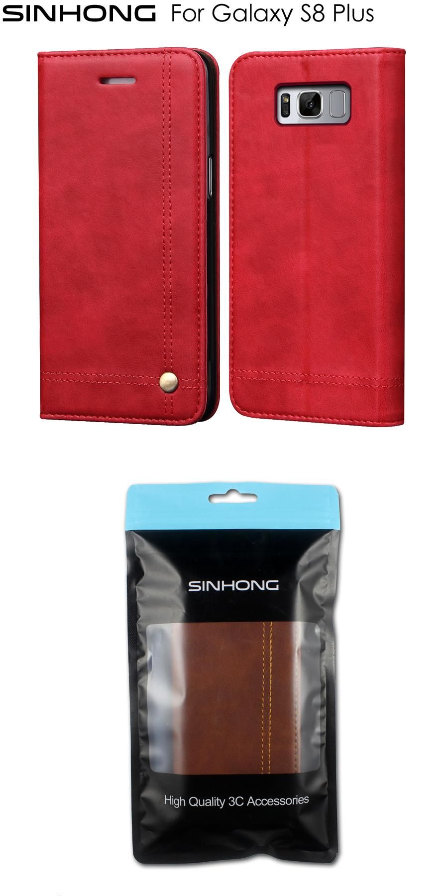 Sinhong Wallet Case Leather Cover For Samsung Galaxy S8 Plus Cases Smart Flip Blackberry Aurora Card Slot Magnet Pouch