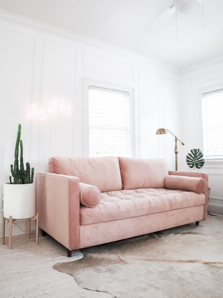 Babe Cave Downtown Office Dannon K Collard Like The Yogurt Charleston Blog Pink V Pink Sofa Living Room Pink Couch Living Room Pink Living Room Furniture
