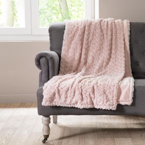 plaid aus rosa kunstpelz 125x150 chambre amosphere. Black Bedroom Furniture Sets. Home Design Ideas