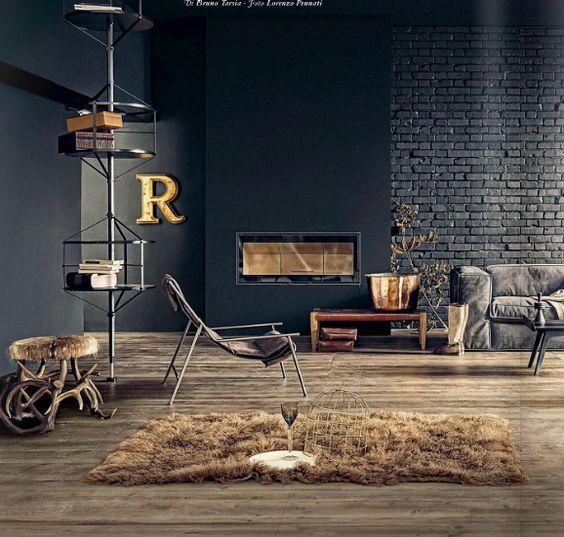 donkere muur industrieel interieur vintage lichte kleuren wit zwart hout dark wall industrial interior light colours white black wood