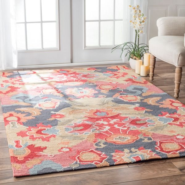 Nuloom Handmade Carousel Multi Rug 7 6 X 9 Pink Red Synthetic Print