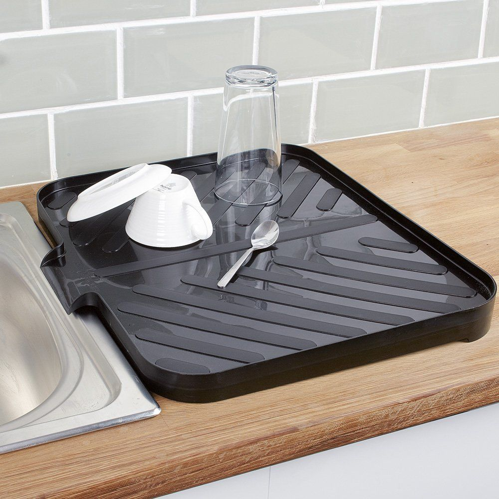 Worktop Drainer Tray Black Draining Board Kitchen Design Small Dish Racks