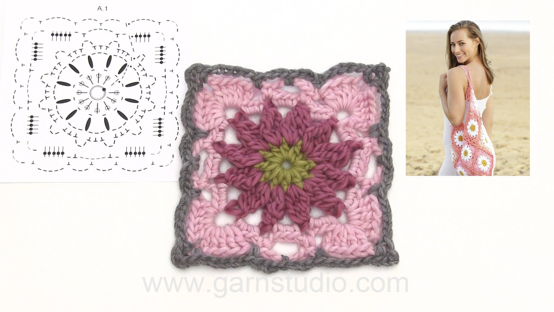 How to crochet the squares for the bag in DROPS 175-17 | Häkeln ...