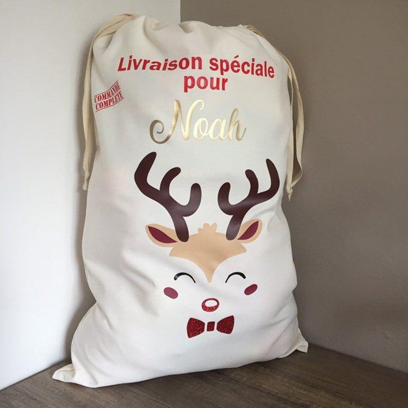 Hotte De Pere Noel Hotte de Noël personnalisée / Hotte de Pere Noël personnalisée