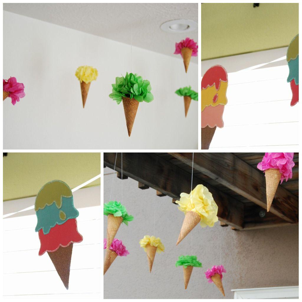 ice cream | Party ideas | Pinterest | Pompones, Fiestas y Decoración