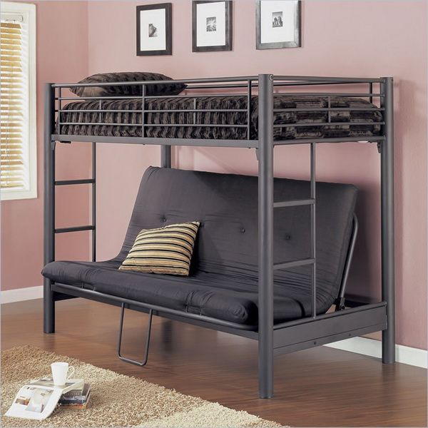 a futon bunk bed is a good choice  a futon bunk bed is a kind of bunk bed that has a normal bunk on the upper level and a futon on the     dashing black metal bunk beds with couch underneath and cool white      rh   pinterest