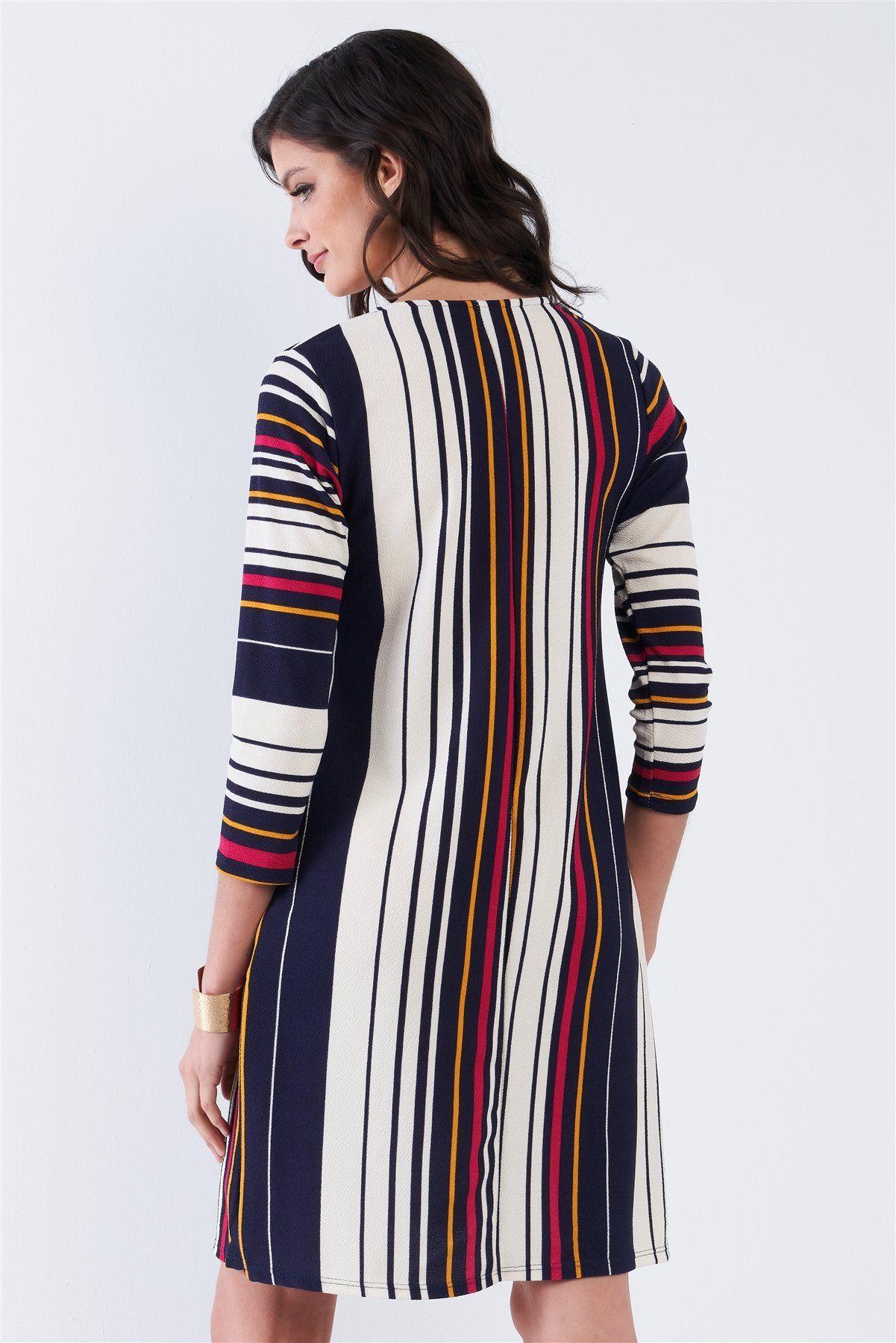 Navy Multi Stripe 3 4 Sleeve Shift Midi Dress In 2021 Midi Shift Dress Dresses Navy Midi Dress [ 1800 x 1201 Pixel ]