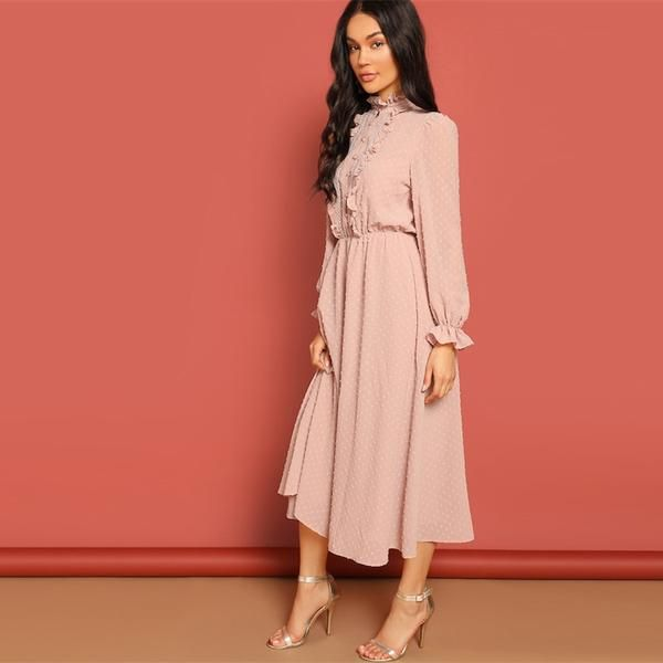 f720fd5df1 SHEIN Pink Frill and Lace Trim Half Placket Dot Jacquard Stand Collar Dress  Autumn Women Long Sleeve Solid Arabian Dresses
