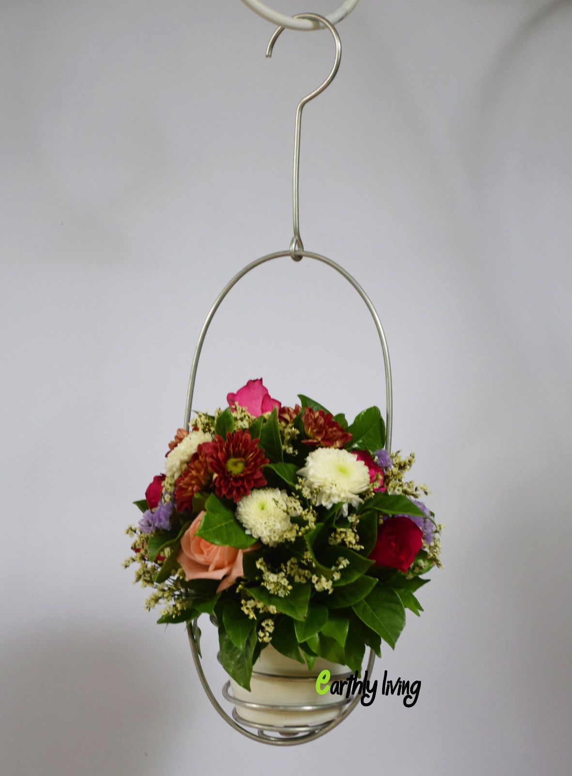Flower Floral Arrangement Decoration Ideas Hanging Vase Planter Wire ...