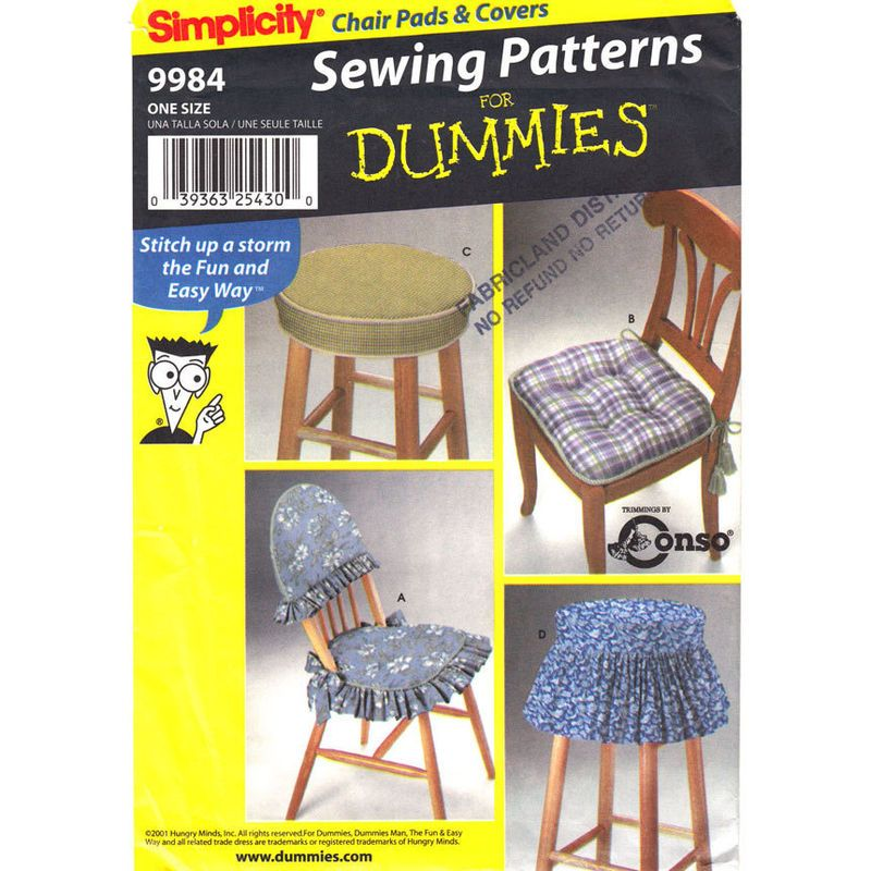 dining chair cushion sewing patterns. dining chair pad and stool cover pattern simplicity 9984 dummies sewing patterns uncut cushion p