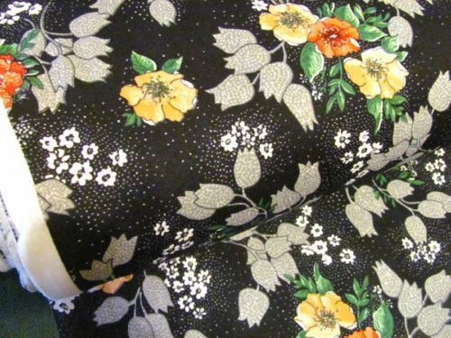Vintage Black Floral Polyester Stretch Sewing Fabric BTY Sharon Mode Fabric | eBay