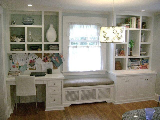 Kitchen Desk Window Seat And Boocase Bookshelves Built In
